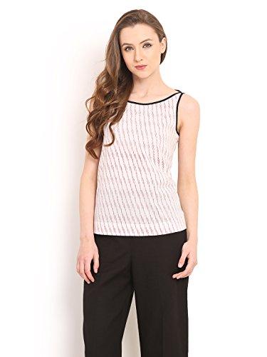 Diagonal Stripe Woven Shirt - Saiesta Summer Top For Women's Diagonal Ikat Print Woven No Sleeve Stripe Boat Neck Cami Top XL White & Red