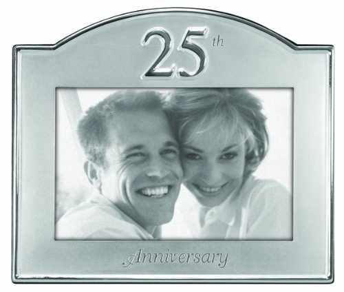 Malden International Designs 25th Anniversary Metal Picture Frame, 4x6, Silver ()