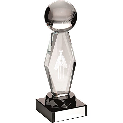 Lapal Dimension CLEAR GLASS LASERED CRICKET COLUMN ON BLACK BASE TROPHY - 8in by Lapal Dimension