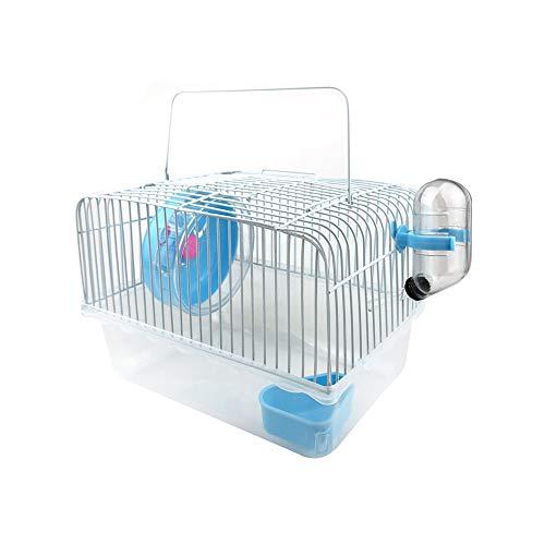 Petzilla Basic Hamster Cage Habitat, Travel Carrier for Small Animal (Blue)
