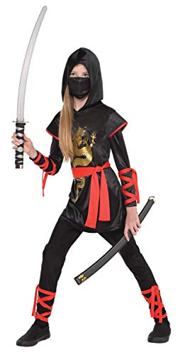 AMSCAN Ultimate Ninja Halloween Costume for Girls, Medium, with Included Accessories -
