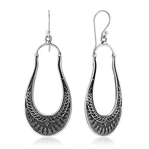 925 Oxidized Sterling Silver Delicated Ethnic Tribal Filigree Indian Long Hoops Earrings (Etruscan Style Earrings)