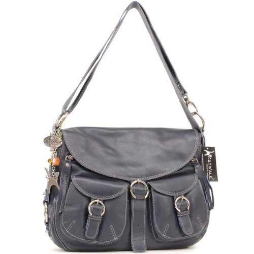 Catwalk Collection Big Leather Cross-Body Bag - Courier Dark Blue