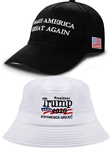2 Pieces Donald Trump 2020 Hats Embroidery Campaign Hats Adjustable America Trump Caps for Men and Women Wearing Supplies (Color 13)