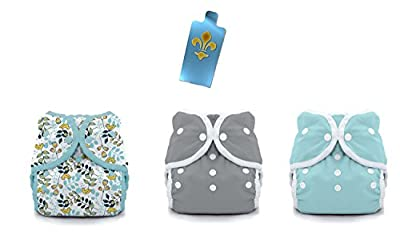 Thirsties Duo Wrap Snaps Diaper Covers 3 pack Combo: Little Birdie, Fin (Gray), Aqua Sz 2