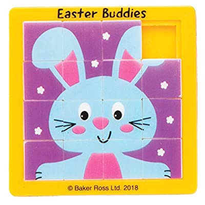 Baker Ross Easter Buddies Sliding Puzzles (Pack of 4) for Kids Easter Party Bag Fillers or Gift Ideas: Toys & Games