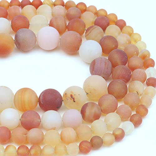 """Oameusa Natural Round 8mm Red Flower Frosted Agate Beads Gemstone Loose Beads Agate Beads for Jewelry Making 15"""" 1 Strand per Bag-Wholesale"""