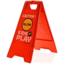 """Kids Playing Safety Floor Sign for Yards and Driveways (Double-Sided, Red) - """"Caution, Slow, Kids at Play"""""""