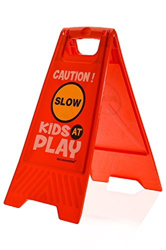(Kids Playing Safety Floor Sign for Yards and Driveways (Double-Sided, Red) -