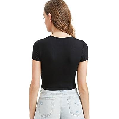 SweatyRocks Women's Basic Short Sleeve Scoop Neck Crop Top at Women's Clothing store