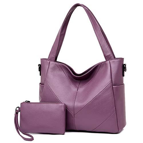Purple Bag 28cm 11cm Blue Messenger Tote Bag 32cm Women Leather Shoulder Dark wxH6PxqAX