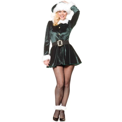 [Underwraps Costumes Women's Sexy Christmas Costumes -Santa's Little Helper, Green/White, Medium] (Childrens Santas Helper Costume)