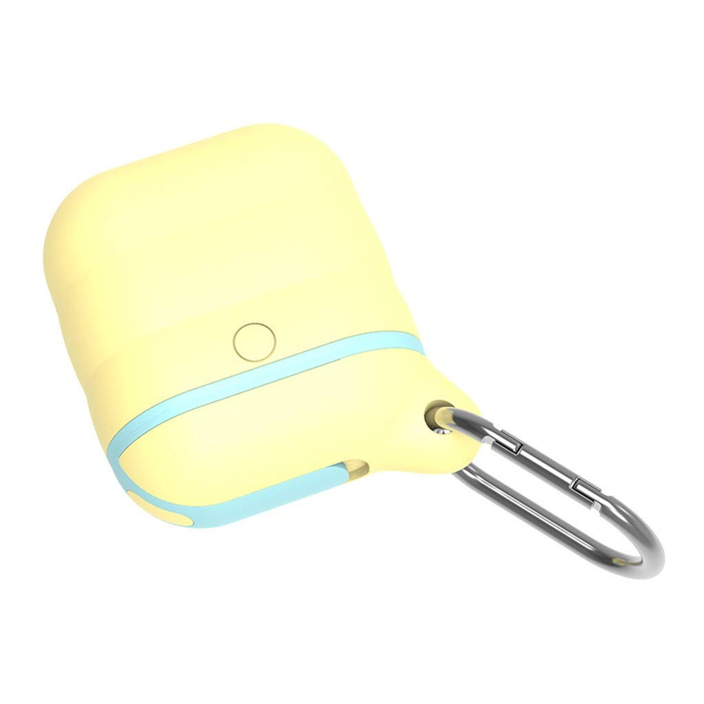 Earphone Case,Sikye Shockproof and Drop Proof Protective Cover Skin with Carabiner, Silicone Sealing Waterproof for AirPods (Yellow)