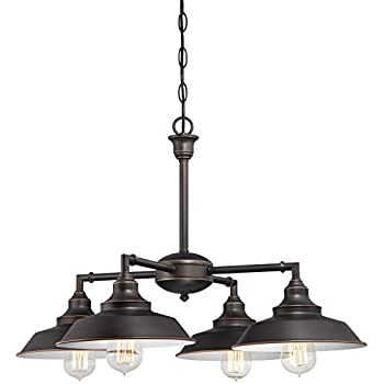 Westinghouse 6343300 Iron Hill Four-Light Indoor Convertible Chandelier/Semi-Flush Ceiling Fixture, Oil Rubbed Bronze Finish with Highlights and Metal Shades