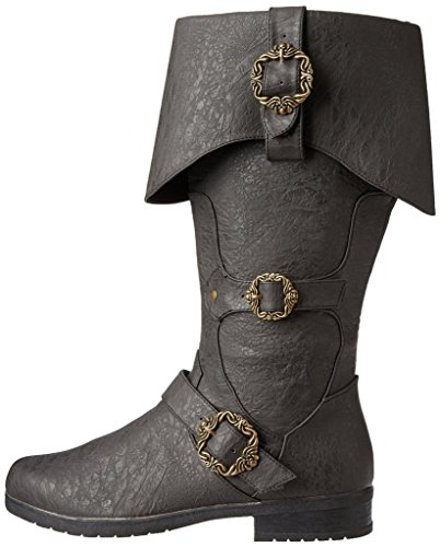 Caribbean Pirate Costume Boots (Medium (10-11), Black)