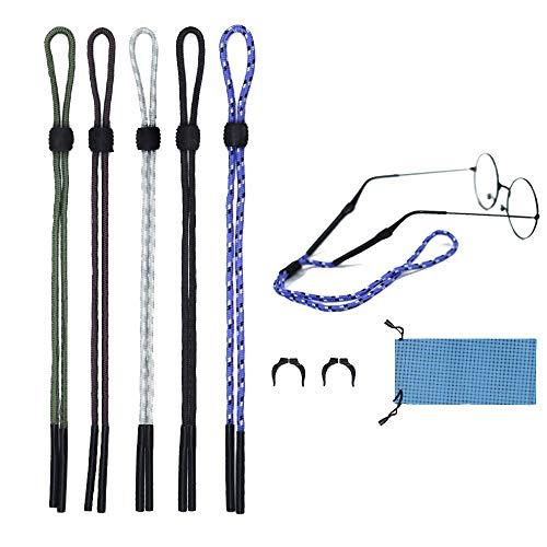 Glasses Nylon Sprot Strap Chain Eyeglass String Cord Holder Adjustable 5 Pack (BBBGG, ()