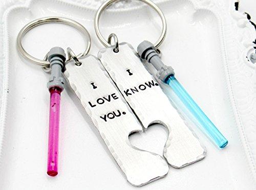 I Love You I Know Keychain, Star Wars Keychain Lightsaber, Set of TWO