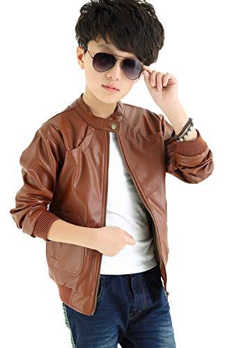 Leather Straight Collar Coat - Boy's Trendy Stand Collar PU Leather Moto Jacket Leather Coat,Brown,120(4/5y)