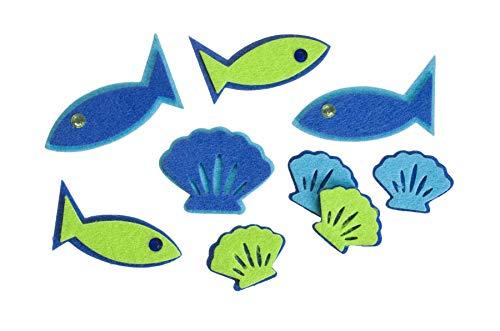 Darice FLT-1009 Darice, 24 Piece, Felties Felt Stickers, Fish with Gems,,