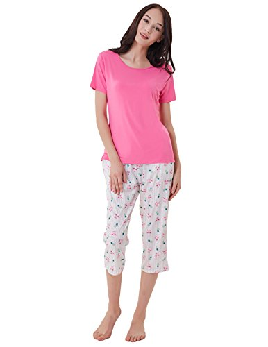 Women Pajama Short Set Solid Tops with Pants Cotton Nightwear Pink Size L