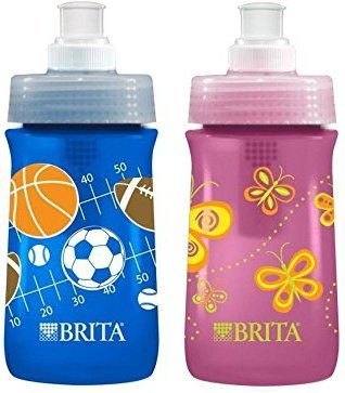 2 Pack Sport Bottles - Brita Soft Squeeze Water Filter Bottle For Kids, Variety 2 Pack, Navy Blue Sports/Pink Butterflies
