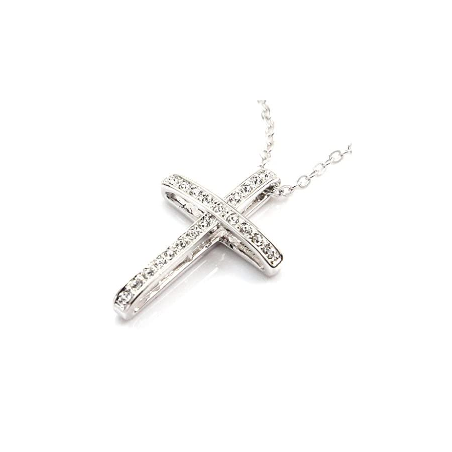 FC JORY White & Rose Gold Plated Rhinestone Cross Cubic Zirconia Pendant Necklace