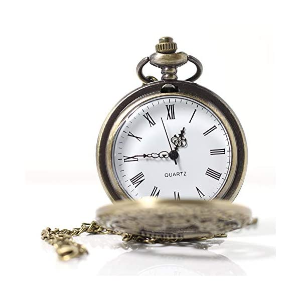 1 x Vintage Pocket Watch with Chains Necklace,Steampunk Gear Hollow Quartz Pocket Watches for Men Women Xmas Birthday Gift Present 4