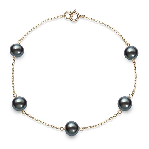 10kt Yellow Gold 6.0-6.5mm Black Cultured Freshwater Pearl Station Tin Cup - Bracelet Pearl Black Station