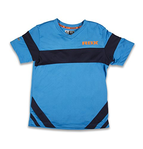RBX Active Boy's Mesh V-Neck Short Sleeve T-Shirt With Color Block Small - Scuderia West
