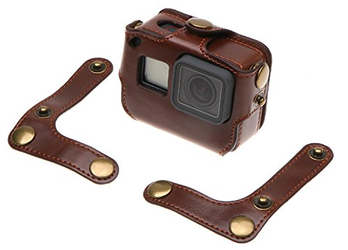 Makit PU Leather Frame Housing Carrying Case Bag With Neck Strap For GoPro Hero 6 /Hero 5 GoPro HERO (2018) by Makit