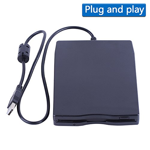 3.5'' USB External Floppy Disk Drive Portable 1.44 MB FDD for PC Windows 2000/XP/Vista/7/8/10 Mac,No Extra Driver Required,Plug Play,Black by Dainty