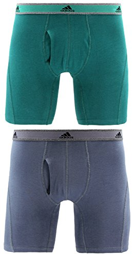 - adidas Men's Relaxed Performance Stretch Cotton Boxer Briefs Underwear (2-Pack), Onix/Mystery Green, X-Large