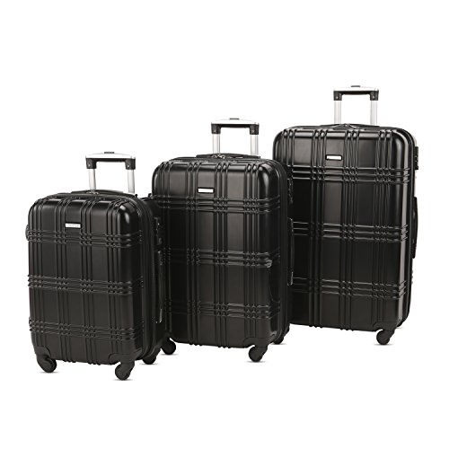 3 PC Luggage Set Durable Lightweight Spinner Suitecase-LUG3-GL8109-BLACK