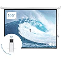 "Homegear 100"" HD Motorized 4:3 Projector Screen W/ Remote Control"
