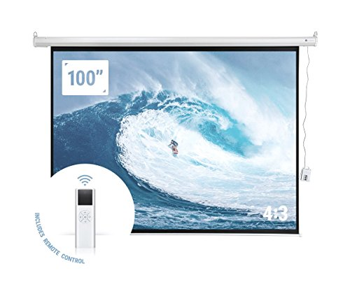 "Homegear 100"" HD Motorized 4:3 Projector Screen W/Remote Control by Homegear"