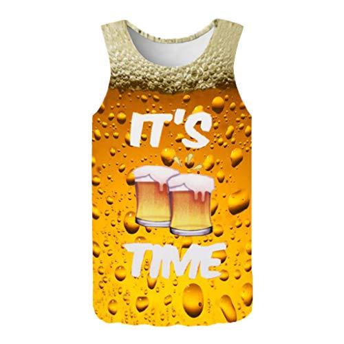 FEDULK Men's Sports Tee Vest 3D Print Funny Pattern Sleeveless Slim Elastic Stretch Blouse Tank Tops(Yellow, XX-Large)