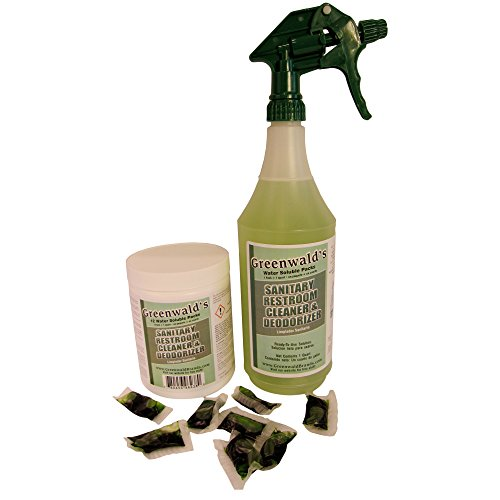 Greenwald's Sanitary Restroom Cleaner - Includes Bonus Refill Packet and Professional Spray Bottle - 12 Count