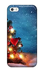 Iphone 5/5s Case Slim [ultra Fit] Christmas Tree Outside Snow Night Decoration Lights Xmas Santa Claus Holiday Christmas Protective Case Cover