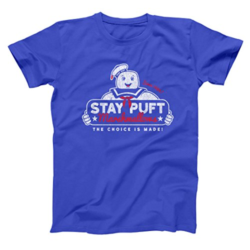 Stay Puft Marshmallows Funny Old School Ghost Fighting Marshmallow Man 80s 90s Movie Humor Mens Shirt Large -