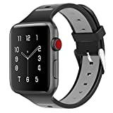 OULUOQI Apple Watch Band 42mm, Soft Breathable iWatch Band for Apple Watch Series 3,Series 2, Series 1, Nike+, Sport & Edition -- Black/Gray