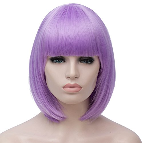 Short Bob Hair Wigs with Bangs for Women Light Purple Straight Synthetic Wig 12 Inch Natural Looking As Real Hair BU027LP]()