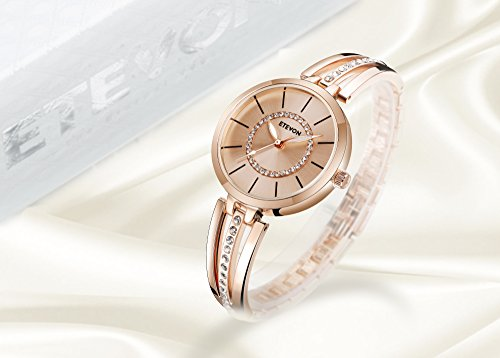 ETEVON Women's 'Crystal Bridge' Quartz Analog Watch with Luminous Pointers and Rose Gold Bracelet Waterproof, Fashion Dress Wrist Watches for Women by ETEVON (Image #5)