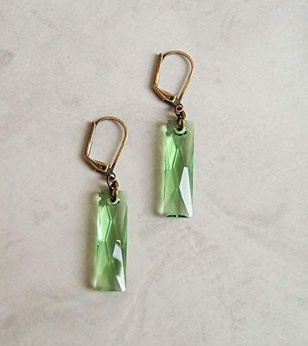 Crystal Rectangle Baguette Antique Brass Leverback Earrings Faux Peridot August Birthstone Gift Idea