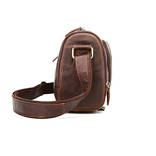 Chocolate Bandolera Frijol De Escolar Brown Solo Hombro Un Cuero Inclinada Mkulxina color Negocios Color Bolso Retro Mochila BUwHT