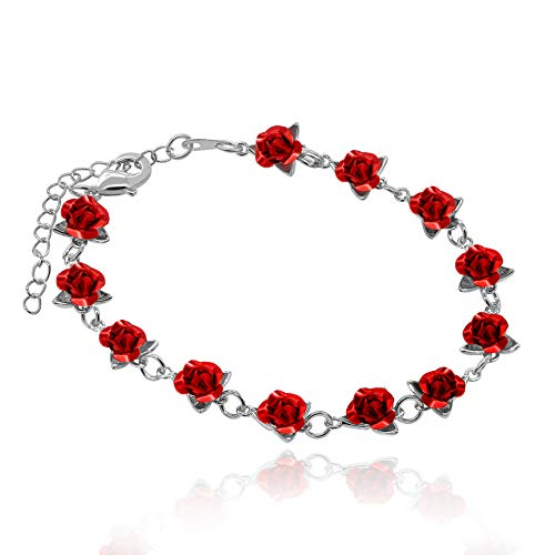 (Uloveido Charm Red Flowers Bracelet Accessories for Women, Platinum Plated Exquisite Bracelets Cuff with 12 pcs Red Rose Flowers (Silver Color) Y452)