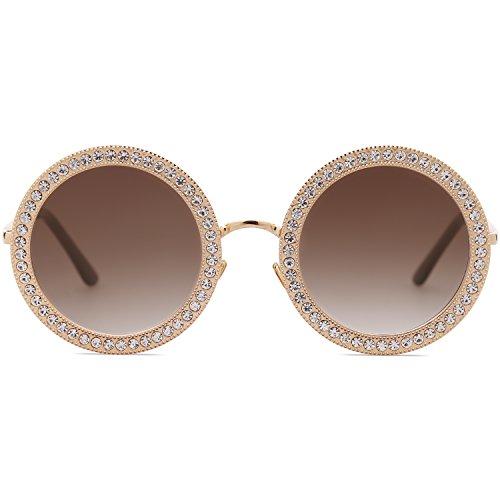 d0f378933b Bueno wreapped SojoS Gafas De Sol Para Mujer Redondo Marco Diamante Cristal  SJ1095