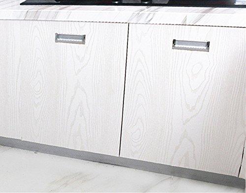 Moyishi Self Adhesive white wood grain furniture stickers PVC wallpaper cabinets Gloss Film Vinyl Counter Top Decal 24''x79'' by Moyishi (Image #3)