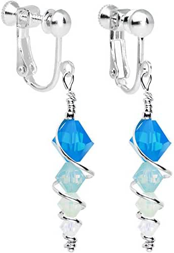 Body Candy Handcrafted Silver Plated Blue Icicle Clip On Earrings Created with Swarovski Crystals
