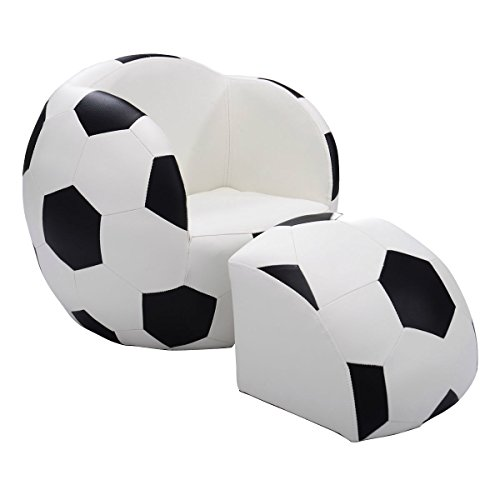Children Soccer Ball Sofa with Ottoman Fun Multi-functional Sofa Kids Room Bedroom Playroom by Eosphorus