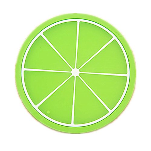Water Bottle,HP95(TM) 1PC Fruit Coaster Colorful Silicone Cup Drinks Holder Mat Tableware Placemat for Home Office (Green)